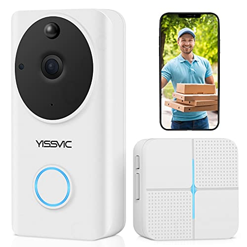 Video Doorbell Camera Wired & Wireless WiFi with 32G TF Card Battery Operated Waterproof Automatic Record1080P FHD Door Bell with Chime by YISSVIC