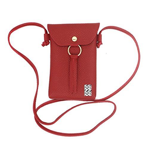 LefRight sottile Custodia Portafoglio Borsetta Borsa a Tracolla Borsa Postino Pochette da Viaggio in Pelle per iPhone X, 8 Plus, 7 Plus, Samsung S8, S7 Edge, J7, Note 5 (rosso)
