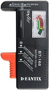 D-FantiX Battery Tester Universal Battery Checker for AA AAA C D 9V 1.5V Button Cell Batteries  Model  BT-168
