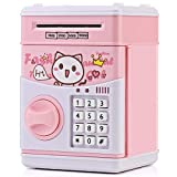 KMiKE Electronic Piggy Bank for Kids Cash Coin Cartoon ATM Money Saver Coin Bank for Kids with Password & Music Great Gift Toy for Kids Children (Pink)