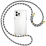 mtb more energy® Collar Smartphone para Apple iPhone 12 Pro MAX (6.7'') - Camuflaje Blanco/Oro - Funda Protectora ponible - Carcasa Anti Shock con Cuerda Correa