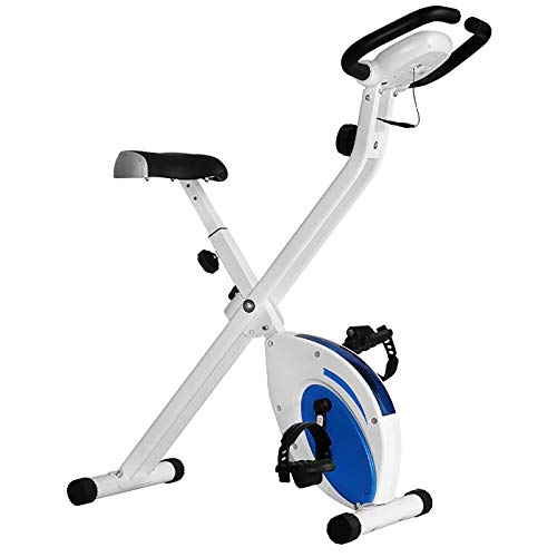 Bicicleta estática, Plegables bicicleta estática magnética con pantalla LCD, 8 Niveles de Resistencia magnetica, Bicicleta de Ejercicios Aeróbicos Gimnasio Casa