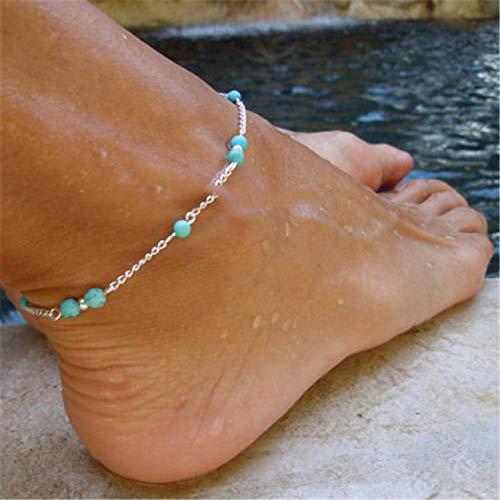 WEIYYY Joyería de Moda Tobilleras Femeninas Sandalias de Ganchillo Descalzas Joyas para el pie Pierna Nuevas Tobilleras en el pie Pulseras de Tobillo para Mujer Cadena de Pierna, JL03