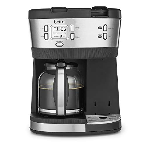 Brim Trio Multibrew System, 12 Cup Programmable Coffee Maker, Brews a 6oz Cup of Coffee in 1-2 Minutes, Convenient Variable Brew Size, K-Cup Compatible, Stainless Steel/Black