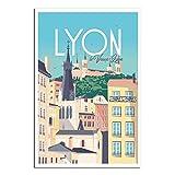 Vintage Poster Reise Lyon Schlafzimmer Deko Poster