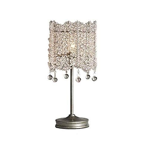 WYBFZTT-188 Sala Mesita de luz con la Gota de Agua cristalina Clara Cuentas Pantallas de iluminación, Mesa de Plata práctica de la lámpara de la lámpara de Noche for el hogar