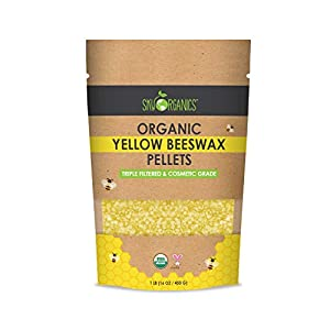 Sky Organics USDA Organic amarillas Pellets cera de abejas (1 libra) abejas cera pura de plaguicidas no tóxicos o sustancias químicas - 3 x filtrado, Fácil Melt Pastilles- para el bricolaje, velas