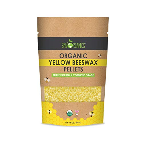 Sky Organics USDA Organic Yellow Beeswax Pellets Pure Beeswax No Toxic Pesticides or Chemicals - 3 x...