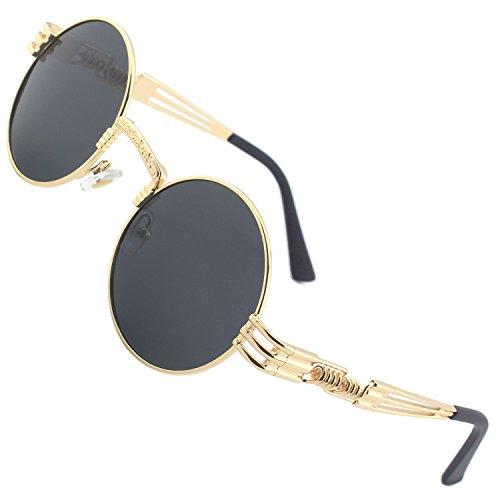 CGID Retro Sonnenbrille im Steampunk Stil runde Metallrahmen Polarisiert Brille Herren Damen Gold Rahmen Graue Gläser, CAT3, CE, E73