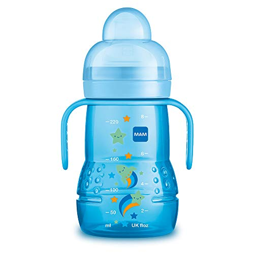 MAM Vaso Trainer D114 - Vaso de Aprendizaje para Bebés a partir de 4 meses, con Tetina antiderrames y Boquilla de Silicona ultrasuave, Asas y Tapa Protectora - 220ml - Azul