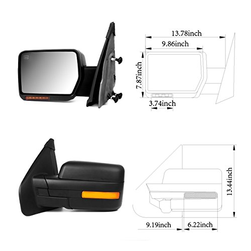 Passenger Side SCITOO fit Ford F150 Towing Mirror with Puddle Lights Black Rear View Mirror fit 2004-2014 Ford F150 with Reflector Turn Signal Power Control Heated Manual Folding