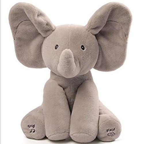 Wanxida Elefante de Peluche de Juguete, Música Elefante del Juguete de Felpa para Niño Jugar al Escondite Elefante Juguetes con 5 Color -Gris
