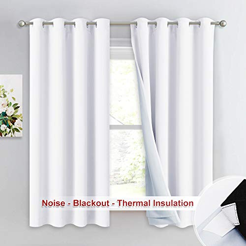NICETOWN Sound Blocking White 100% Blackout Lined Curtains, 3 Thick Layers Completely Blackout Noise Control Window Treatment Insulated Drapes for Bedroom (1 Pair, 52 Width x 63 Length Each Panel)