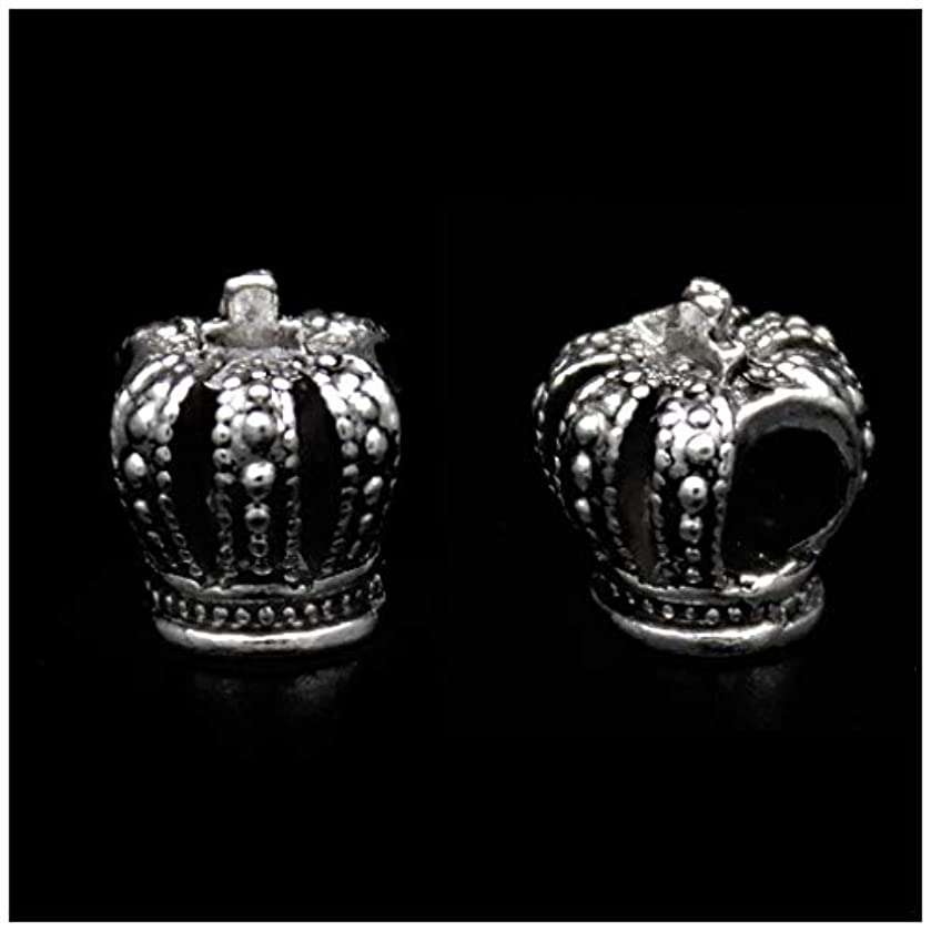 Pack of 50 Crown Antique Silver Plated Spacer Loose Beads Charms for Pandora Bracelet DIY Jewelry Making