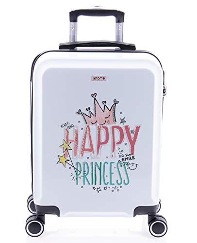 imome Cool Maleta de Cabina Infantil Happy Princess 55x40x20 cm | Equipaje de Mano, Trolley de Viaje Ryanair, Easyjet | Maleta de Viaje Rígida Divertida Princesas Juvenil
