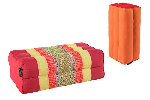 ANADEO Standard - Juego de 2 Yoga y meditación Cojín Zafu Estándar - Kapok de Alta Densidad 100% Natural - Confort y Firmeza - Estabilidad de Asís - Rojo Amarillo/Monk Safran