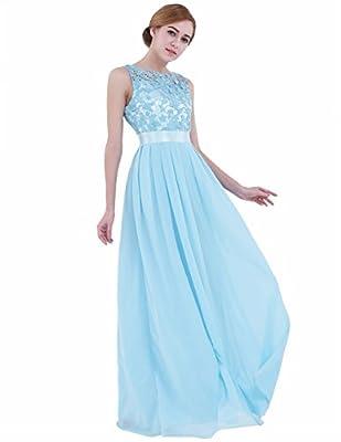 iEFiEL Summer Wedding Floral Lace Crochet Bridesmaid Chiffon Dress Evening Gown Sky Blue 6