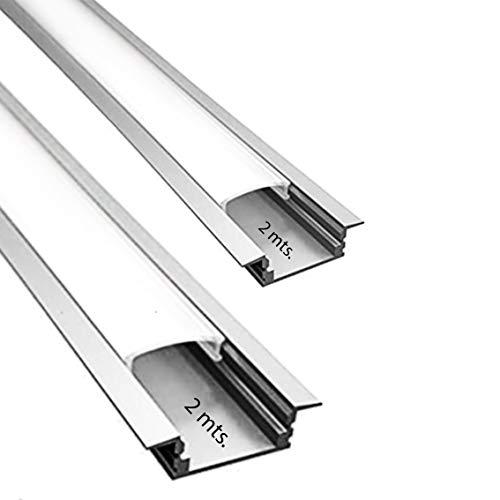Perfil de aluminio para LED tira con difusor opaco PACK 4 metros empotrar,barra disipador en omega en tiras de 2 mts, canal con soporte de montaje,tapas finales