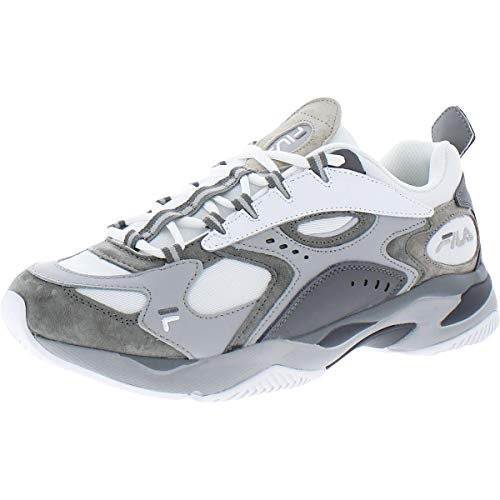 Fila Boveasorus - Zapatillas deportivas deportivas de piel para hombre, gris (Blanco/Gris Hris/Gris Oscuro), 46 EU