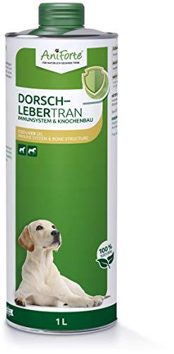 AniForte Dorschlebertran für Hunde, Katzen & Pferde 1L - Natürliche Quelle, Barföl mit Vitaminen & Omega 3, Unterstützung Knochenaufbau, Abwehrkräfte & Immunsystem, Recyclebare Verpackung ohne BPA