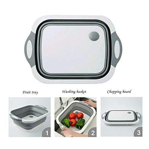 JASIN multifunctionele 4-in-1 inklapbare wastafel snijplank afvoermand huishoudelijke waskom opbergmand geschikt voor thuis en buiten