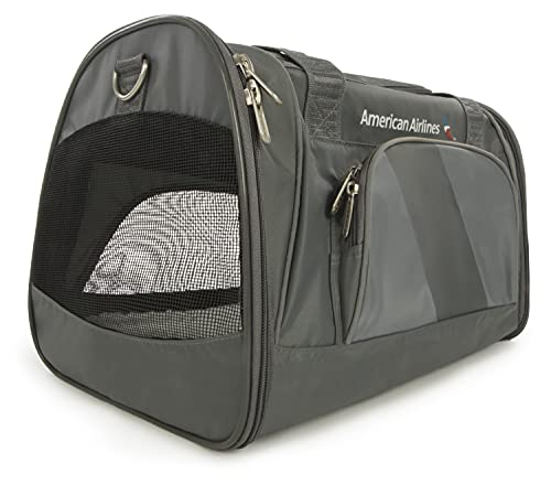 Sherpa American Airlines Travel Pet Carrier, Airline Approved, Lightweight, Padded, Foldable, Mesh Windows, Spring Frame, Charcoal, Medium