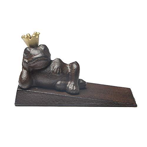 Frog Prince - Tope para puerta (hierro fundido, antiguo y pesado, cuña, ideal para uso práctico y decoración, para el hogar y la oficina (cobre oscuro)