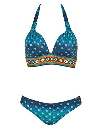 Sunflair 21098-23 Women's Ethno Bohemé Turquoise Spotted Soft Cup Bikini Set