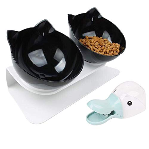 Legendog Futternäpfe Katzenfutter, Doppelt Futternapf Katze mit Portionierer und rutschfeste Basis Katzen Schüssel 15 ° Geneigt Katzenäpfe für Katzen und kleine Hunde