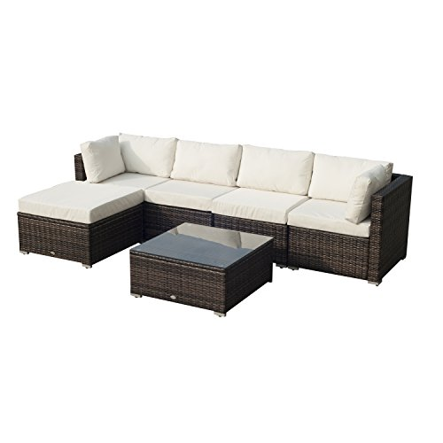 Outsunny Garden Patio Rattan Furniture 6 pcs Wicker Weave Conservatory Sofa Chairs Table Set Brown Aluminium Frame