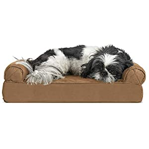 Furhaven Pet Dog Bed – Cooling Gel Memory Foam Quilted Traditional Sofa-Style Living Room Couch Pet Bed with Removable Cover for Dogs and Cats, Toasted Brown, Small