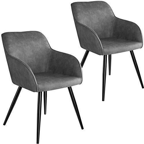 tectake 800869 2er Set Esszimmerstuhl mit Armlehnen, gepolsterte Stoff Sitzfläche, Schwarze Metallbeine, für Wohnzimmer, Esszimmer, Küche und Büro (Grau)