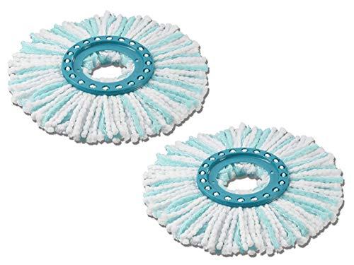 Leifheit 2er Set Ersatzkopf Clean Twist Disc Mop micro duo, für alle Bodenarten, ideale Schmutzaufnahme dank 2-Faser-System, saugfähiger Microfaser, mit hoher Wasser- und Schmutzaufnahme, Ersatzbezug