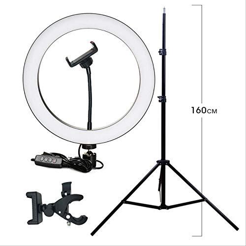 Fotografía Led Selfie Ring Light 16 / 26cm Iluminación Continua de Tres velocidades Regulable con trípode para Video de Maquillaje un tamaño Clip de 26 cm 1.6m Trípode