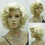 Bluelover Rubias Marilyn Monroe Moda Rizado Peluca Cosplay Pelo Pelucas Llenas Estilo Caliente Corto