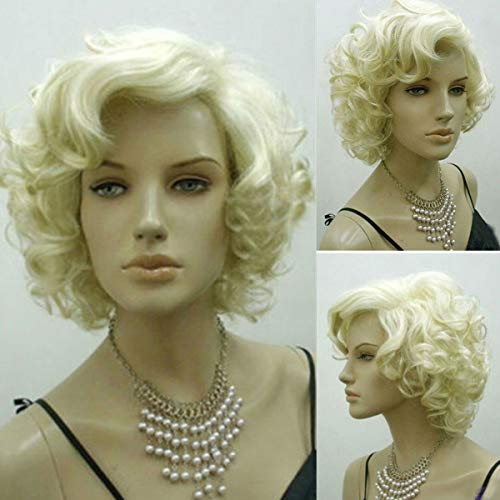 Bluelover Bionda Marilyn Monroe Moda Ricci Parrucca Cosplay Capelli Pieno Stile Hot Short