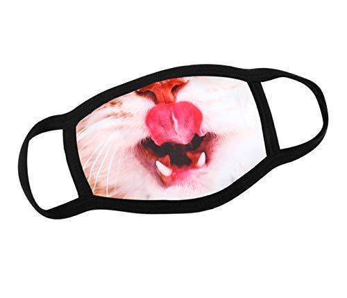 Alsino Mundschutzmaske Mundschutz Stoffmaske Maske Motiv lustig Mund- Nasenschutz Waschbar wechselbarer PM 2.5 Filter Herren, Damen, Kinder Verschiedene Motive (Katze)