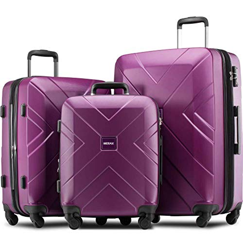 Find Discount 3 Piece Hardside Expanable Luggage Sets with Spinner Wheels & TSA Lock (purple)