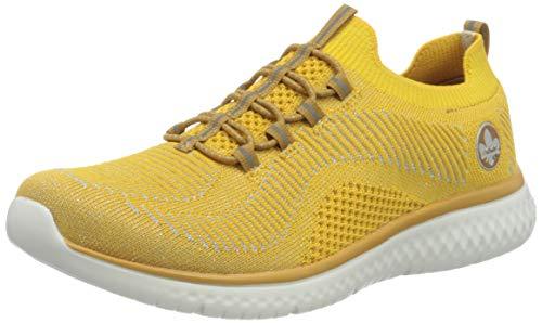 Rieker Damen N9474 Sneaker, gelb-Silber 68, 42 EU