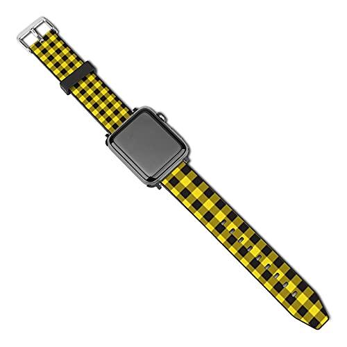 Correa de repuesto para reloj Apple Watch de 38 mm, 40 mm, correa de repuesto para iWatch Series 5/4/3/2/1, cuadros de búfalo amarillo