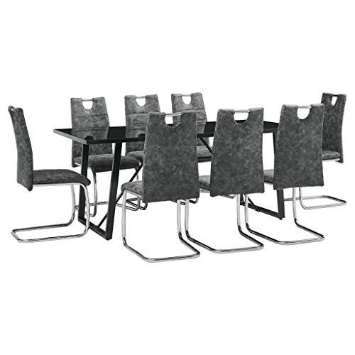 Lepeuxi Conjunto de Comedor Mesa y Sillas 9 Piezas Cuero Sintetico Color Negro 180 x 90 x 75 cm/44,5 x 53 x 96 cm