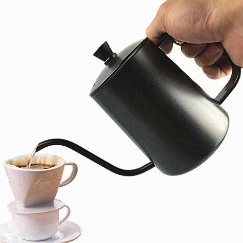 600ml Drip bouilloire à main Punch Préparation du Drip Pot de café 7mm fine d'eau Buse en acier inoxydable verser sur Café bouilloire col de cygne bouilloire à thé Pot pour préparation du café et thé
