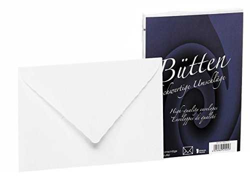 Rössler 20211711 - Bütten - Briefhüllen gefüttert, C6, 25 Stück, weiß
