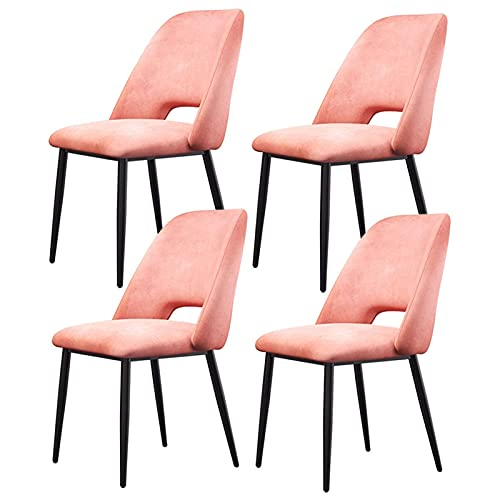 SFSGH Classic Home Dining Room Chair for Kitchen Light Luxury Nordic Dining Chairs Armless Side Fabric Chair Upholstery Cover with Wrought Iron Stool Legs Set of 4