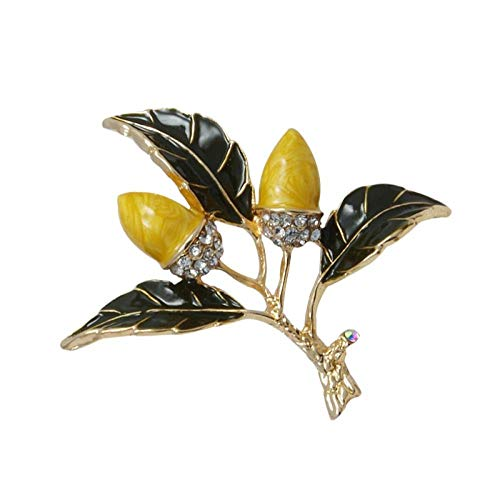 kliy Broschen & Anstecknadeln In Bijouteriepflanzenbaum Emaille Vintage Broschen Haselnussbaum Brosche Und Anhänger Doppelte Verwendung