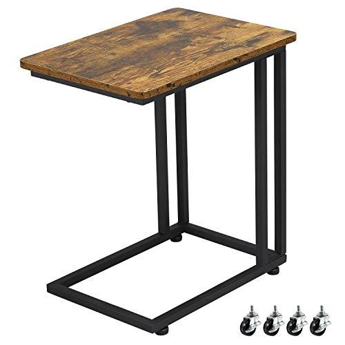 Yaheetech Beistelltisch, Sofatisch im Industrie-Design, Kaffeetisch, für Coffee Laptop, mit Metallgestell und Rollen, Vintage Wohnzimmertisch