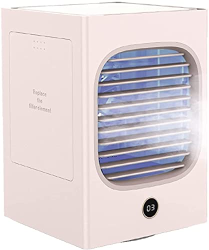 wsbdking Ventilador Personal de Aire Acondicionado portátil, 120 ° automático Mini Mini Desktop Frío Niebla fría refrigerante, humidificador con Pantalla LED, Oficina D (Color : B)