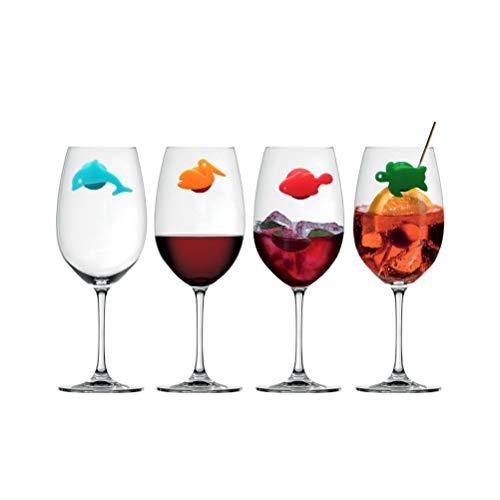 UPKOCH 12 Stück Silikon Glasmarkierer Meerestiere Glasmarker Weinglasmarkierer Glasmarkierung Markierung für Party Gläser Weingläser Sektgläser Cocktailgläser