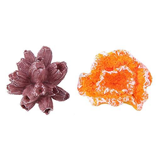 Natural Artificial Coral Ornamento, Agua Calidad con Resina Resina Material Coral Ornamento (como La)