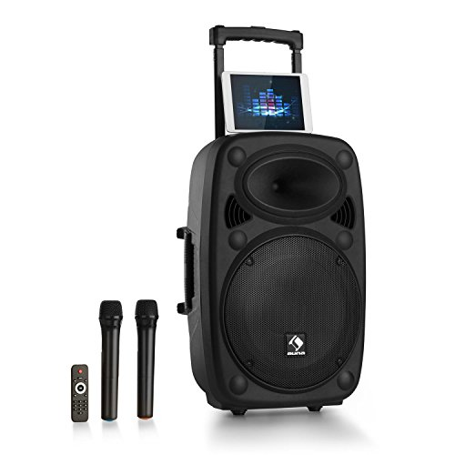 "auna Streetstar - Mobile PA-Anlage Musikanlage, Bluetooth, USB-Port, SD, MP3, AUX-In, Akku, LED-Display, (15"" (38,1 cm) Subwoofer max. 1000 W) schwarz"